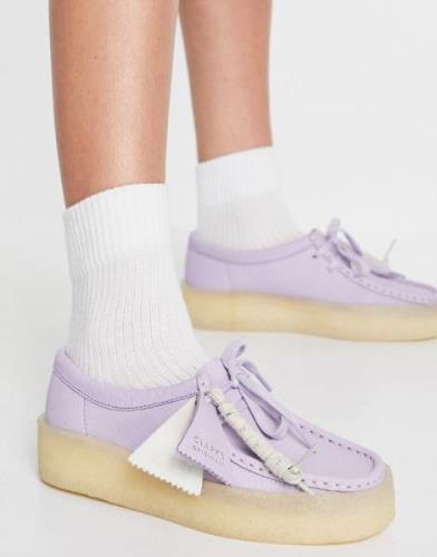 Clarks Originals Wallabee Cup flatform shoes in lilac nubuck-Purple
